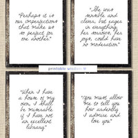 Jane Austen Quote Prints, printable quotes, wall art decor inspirational - Collection