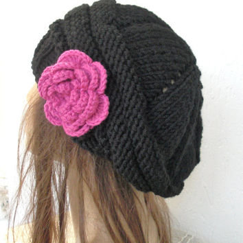 Hand Knit Hat- Womens Hat- Slouchy Hat   in  Black  fuschia   flower -     Slouch beret-Fashion   Winter Accessories  fall autumn