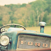 Tractor farm photograph blue vintage Ford in a pasture with green and gold fields 8x12 art print