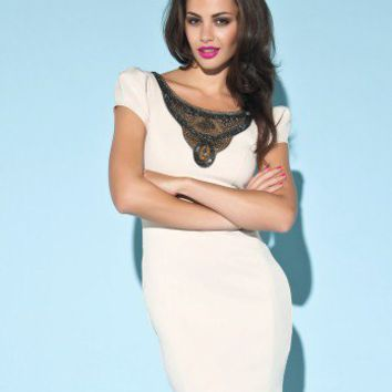 Lipsy Embellished Neck Ponte Dress
