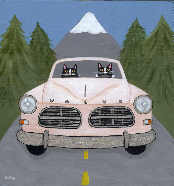 Volvo Road Trip Cats 7 x 7  Digital Print