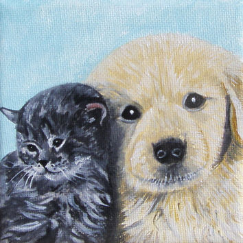 MINIATURE Puppy and Kitty, Oil painting, 4x4i, Beige, White, Birthday gift, Christmas gift, Easel incl, Pet lovers, Free shipping, art