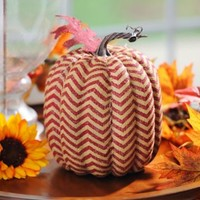 Red Burlap Chevron Pumpkin | Kirklands