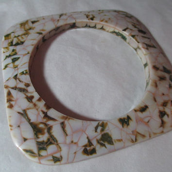 Vintage White Brown Pinkish Inlaid Abalone Shell Bracelet Bangle Thin Sliver Squared Mosaic Mod Artsy