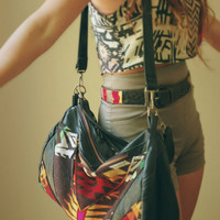 SEE SALE CODE- Pendleton and re-purposed, super soft black leather hobo-  The Buena Vista Social Bag