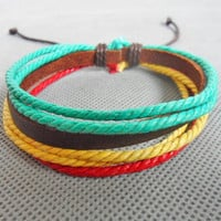Bangle leather bracelet hemp ropes bracelet  men bracelet women bracelet girls bracelet made of ropes and leather cuff bracelet SH-2271