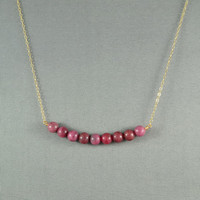 Beautiful Rhodonite Beads Necklace, Wire Wrapped Beads, 14K Gold Filled Chain, Wonderful Jewelry