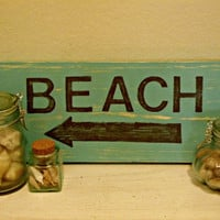 Teal Painted Wood Beach Sign
