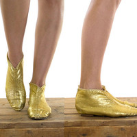 vintage 60s gold booties // psychedelic gold lame shoes