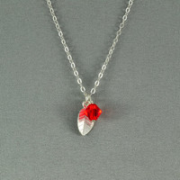 Petite Leaf Charm and SWAROVSKI Crystal Bead Necklace, 925 Sterling Silver Chain, Beautiful Necklace