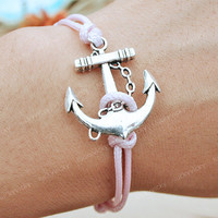 Bracelet-Anchor bracelet-vintage anchor bracelet-Vintage pink string bracelet