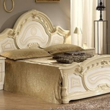 Ben Company Sara Beige Finish Italian Bed with Bedside