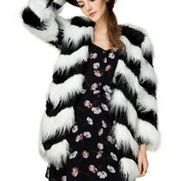 Ziggy Black and White Faux Fur Coat