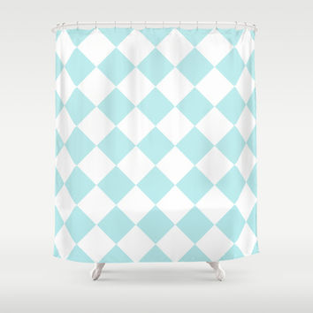 Turquoise Aqua Blue Diamond Shower Curtain by BeautifulHomes