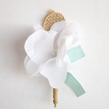 BEACH Boutonnière / Set of 6 / Rustic / Farmhouse / DESTINATION Wedding / Groom / Groomsmen / White / Aqua / Mint / Burlap / CUSTOM