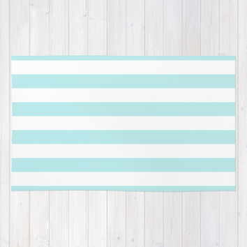 Turquoise Aqua Blue Stripe Horizontal Area & Throw Rug by BeautifulHomes