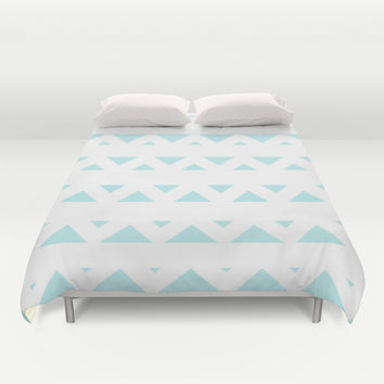 Turquoise Aqua Blue Tribal Triangles Duvet Cover by BeautifulHomes
