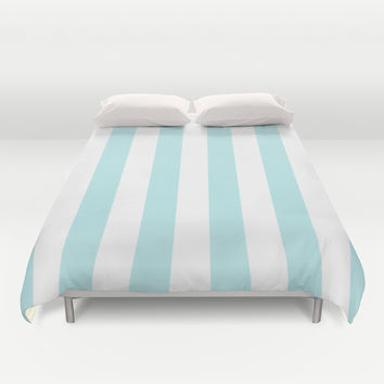 Turquoise Aqua Blue Stripe Vertical Duvet Cover by BeautifulHomes
