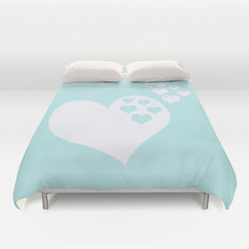 Turquoise Aqua Blue Hearts of Love Duvet Cover by BeautifulHomes