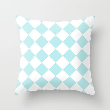 Turquoise Aqua Blue Diamond Throw Pillow by BeautifulHomes