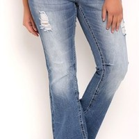 Plus Size Amethyst Flare Jean with Patch Details