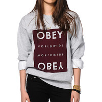 Obey Worldwide Block Grey Crew Neck Sweatshirt