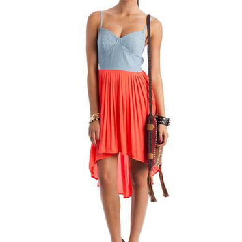 denim-bustier-high-low-dress BLUECORAL - GoJane.com