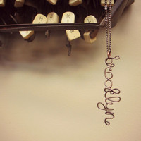 Brooklyn Necklace Brown Wire Jewelry NYC Name Necklace