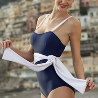 Navy One Piece Swim Suit with White sash