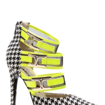 Neon Yellow Houndstooth Strapped Pointed Toe Heels @ Cicihot Heel Shoes online store sales:Stiletto Heel Shoes,High Heel Pumps,Womens High Heel Shoes,Prom Shoes,Summer Shoes,Spring Shoes,Spool Heel,Womens Dress Shoes