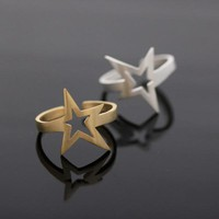 open star ringadjustable in gold by bythecoco on Zibbet