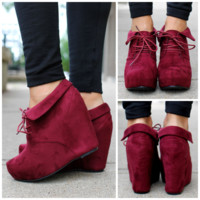 So Posh Wedge Bootie - Burgundy - BURGUNDY /
