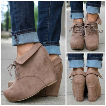 So Posh Wedge Bootie  Taupe