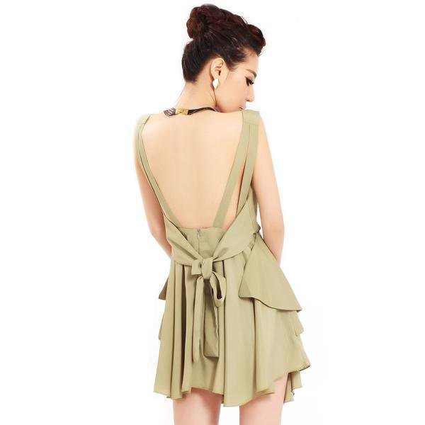 Bqueen Asymmetrical V Neck Green Dress TD009G - Designer Shoes|Bqueenshoes.com
