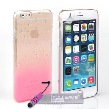 Yousave Accessories iPhone 6 Plus Case Baby Pink / Clear Raindrop Hard Cover With Mini Stylus Pen
