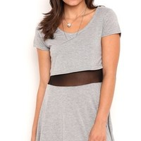 Short Sleeve Skater Dress with Illusion Mesh Waist