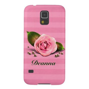 Chic Pink Rose and Stripes Samsung Galaxy S5 Case