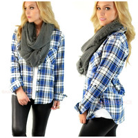 Fall Picnic Blue & Black Plaid Top
