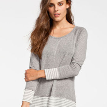 Full Tilt Striped Womens Tunic White/Grey  In Sizes