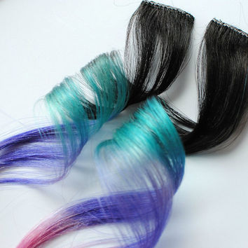 Coral Reef - Human Hair Extensions - Dip Dyed Tips / Tie Dyed Clip Ins // Black Pink Turquoise Peach Purple / Ombre Rainbow