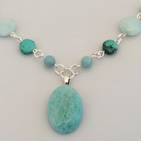 Turquoise Amazonite Pendant Necklace on Beaded Strand of Amazonite and African Turquoise Beads and Silver -- Product N080