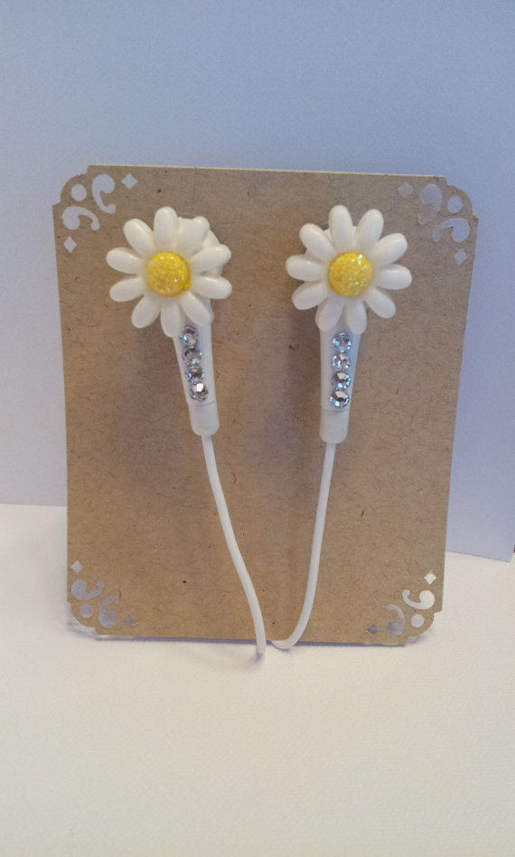 Mini daisy flower earbuds with swarovski crystals
