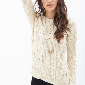 Slouchy Cable Knit Sweater