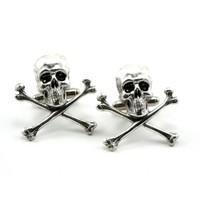 Gothic Wedding Cuff Links - Skull Cuff Links - Antiqued Sterling Silver Plated Skull and Crossbones - By Ghostlove