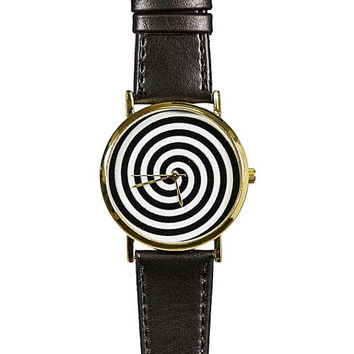 Black and White Swirl  Watch,  Vintage Style Leather Watch, Men's Watch, Women Watches, Boyfriend Watch,