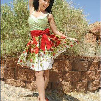 Audrey Skirt in Red Floral Border Print and Red Sash Bow | Pinup Girl Clothing