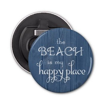 Beach Happy Place Blue Wood Bottle Opener