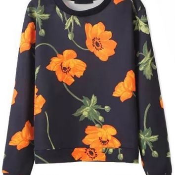 Fancy Floral Black Sweatshirt