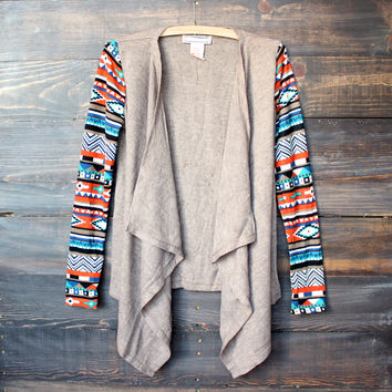 aztec print sleeves lightweight cardigan - taupe sweater tribal indie boho indiefashion southern southwestern fall winter clothing's fashion