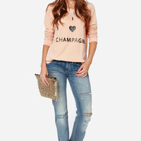 Chaser I Heart Champagne Peach Sweater